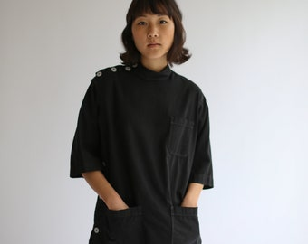 The Wardlea Smock in Black | Vintage Overdye Side Button Painter Shirt | Short Sleeve Studio Tunic | Artist Smock | S M L