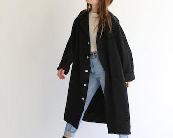 Vintage Black Overdye Shop Jacket | Utility Duster Coat | Artist Smock | XL