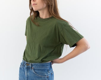 Vintage Army Green T-Shirt | Olive Green Crewneck Tee Cotton | 50 50 Cotton Crew neck Tee Shirt Dead stock Military