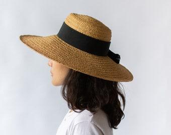 Woven Beach Hat | Black Ribbon Simple Straw Beach Hat | Saks Fifth Avenue |
