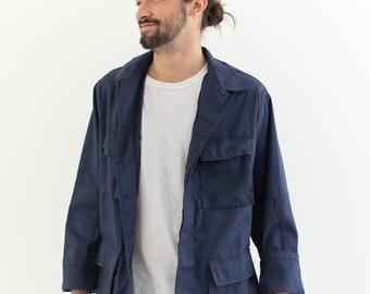 Vintage Dark Blue Cotton Blend Lightweight Jacket | Unisex Outerwear | L |