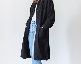Vintage Black Overdye Knot Shop Jacket | Utility Coat | Contrast Stitching | M L |