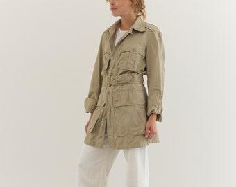 Vintage Khaki Safari Jacket | Tan Belted Light Tropical Suit | S |