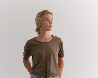 Vintage Scoopneck Olive Brown T-Shirt   Worn 80s Cotton Tee Shirt   S M  