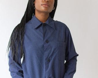 Vintage Overdye Navy Blue Work Shirt Jacket | Button Up Over Shirt | S M