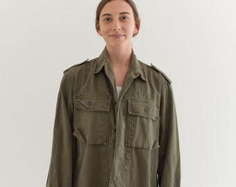 Vintage Olive Green Herringbone Twill Army Jacket | Unisex HBT Green Cotton Button Up Shirt | M L | GS003