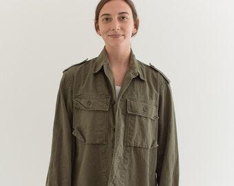 Vintage Olive Green Herringbone Twill Army Jacket | Unisex HBT Green Cotton Button Up Shirt | M L | GS003