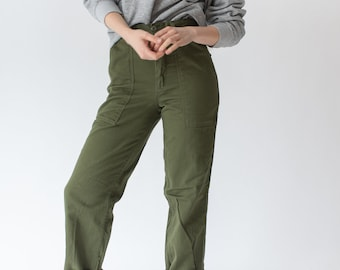 Vintage 27 Waist Army High Waist Pants | Cotton Utility Pant | Green Fatigue Slim Trouser | Made in USA | PETITE