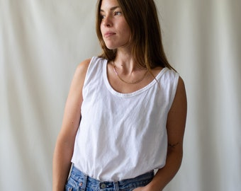 The Umbria Tank | Vintage White Tank Top | 100% Tissue Cotton Singlet | Washed Deadstock Undershirt | S M |