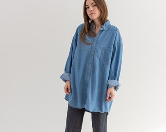 Vintage Denim Artist Shirt | 90s Mid Blue Oversized Smock | Light Wash Wide Overshirt | L XL |