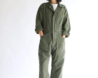 Vintage Green Fitted Coverall Flight Suit | Green Jump Suit Jumpsuit | Cotton Mechanic Suit | Boilersuit