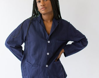 Vintage Navy Blue Overdye Chore Jacket | Round Pocket Dark Blue Cotton French Workwear Style Utility Work Coat Blazer M