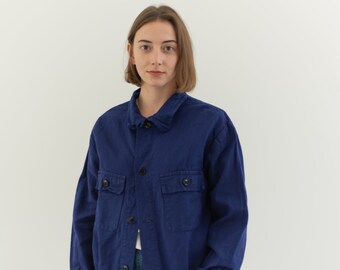 Vintage Navy Blue Work Jacket | Two Pocket Cotton Workwear Coat | M | IT112