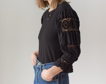 Vintage Black Puff Sleeve Shirt | Grommet Floral Embroidery | Romantic Blouse | S | BP078