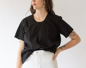 Vintage Black Scoop Tunic Shirt | Short Sleeve Studio Shirt | Painter Smock Tee | M L