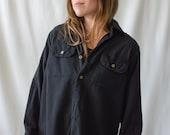 Vintage Overdye Black Chamois Flannel Shirt Made in Greece 70s Greek Pajama Pyjama Blouse S