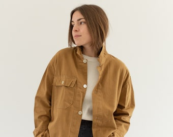 Vintage Tan Khaki Single Pocket Work Jacket | Utility Coat | Made in Italy | M L | IT172