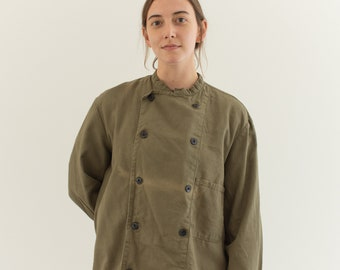 Vintage Olive Green Studio Jacket | Sun fade Unisex Double Breast Cotton | L