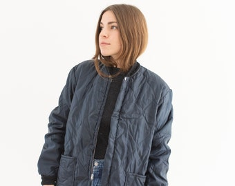 Vintage Navy Blue Quilt Puffer Liner Zip Jacket | Quilted Nylon Coat | Made in USA | S |