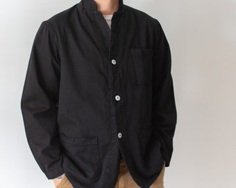 Vintage Black Chore Jacket | Round Three Pocket | Cotton French Workwear Style Coat Blazer  | L XL |