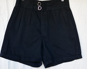 Vintage 28 Waist Double Buckle Black Cotton Shorts | Button Fly | High Rise Workwear | Pleats | Mended | BS21