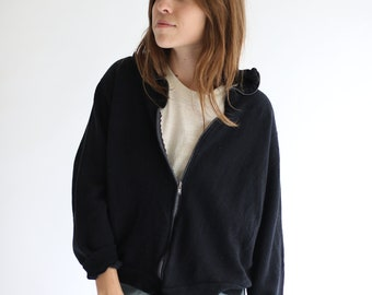 Vintage Midnight Blue Black Zip Up Sweatshirt | Black Made in USA Soft Lounge Sweat shirt | S M L