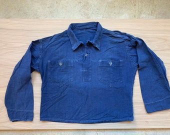 Vintage Denim Blue Popover Shirt | Indigo Two Button French Workwear style Pullover | S M L