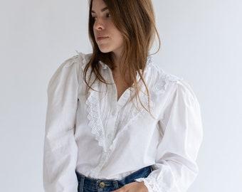 Vintage White Cotton Floral Eyelet Shirt   Victorian Style Romantic Folk Blouse  