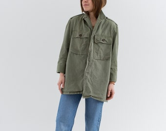 Vintage Olive Green Herringbone Twill Army Jacket | Unisex HBT Green Cotton Button Up Shirt | S M | GS---