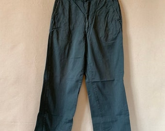 Vintage 27 28 Waist Teal Cotton Twill Chinos Pants | Mended Repaired | TC30