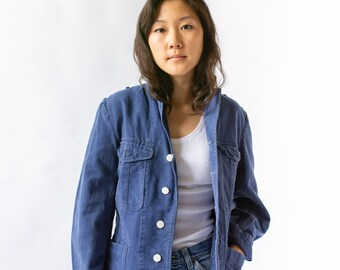 Vintage Blue Sun Faded Chore Jacket   Cotton Workwear Utility Work Coat Blazer   M L