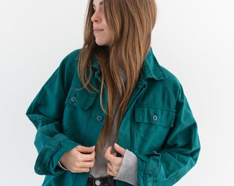 Vintage Emerald Green Two Pocket Raglan Work Jacket | Unisex Cotton Moleskin Utility | Made in Italy | M | IT147