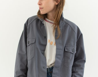 Vintage Grey Two Pocket Work Jacket | Raglan Sleeve Cotton Utility Workwear | Made in Italy | M L | IT127