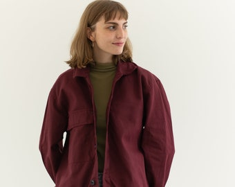 Vintage Burgundy Single Pocket Work Jacket | Red Purple Unisex | Made in Italy | IT072 | M