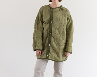 Vintage Green Liner Jacket White Buttons | Quilted Nylon Coat | M L XL | LI007