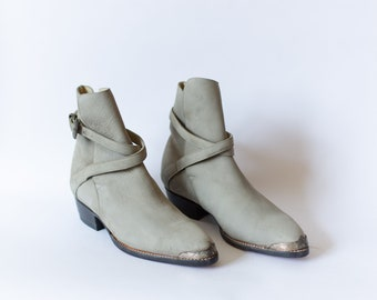 Size 8.5-9   Vintage Deadstock 80s Western Wrap Boot   Cloud Blue Grey Suede Boots  