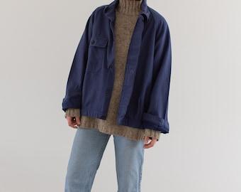 Vintage Navy Blue Work Jacket | Single Pocket Raglan Sleeve | Made in Italy Coat | Moleskin | M L | IT64