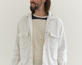 Vintage White Snap Two Pocket Work Coat | Unisex Moleskin Cotton Workwear | Made in Italy | M L | IT135