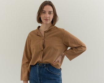 Vintage Overdye Almond Brown Shirt | Long Sleeve Button Down Simple | Studio Shirt | Painter Smock