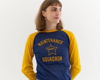 Vintage Blue Yellow Raglan Jersey | Maintenance and Supply Squadron | S |