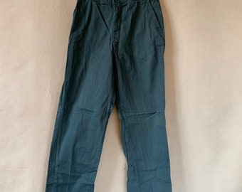 Vintage 28 Waist Teal Cotton Twill Chinos Pants | Mended Repaired | TC29