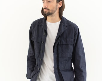 Vintage Dark Blue Cotton Ripstop Lightweight Jacket | S M |