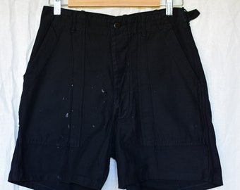 Vintage 28 Waist Black Cotton Shorts | Button Fly | High Rise Workwear | Fatigues | BS01