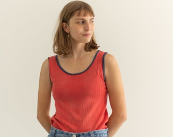 Vintage Sun faded Red Blue Rib Tank Top | Ribbed Undershirt Singlet | worn | S |