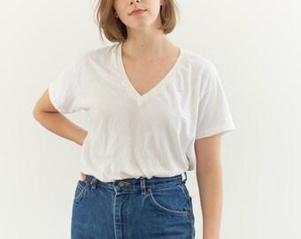 Vintage Cotton White V Neck Tee T Shirt   Semi sheer T-Shirt Tee Shirt Top   Made USA   S   T039