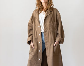 Vintage Mushroom Brown Duster | Shop Coat | Overdye Brown Chore Trench Jacket | L XL |