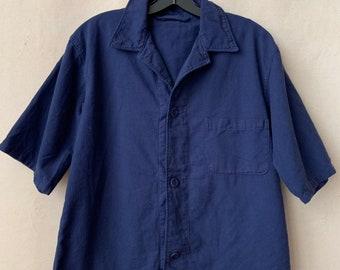 Vintage Navy Blue Short Sleeve Work Shirt | Lightweight Summer Shirt | Micro Waffle |  S M L