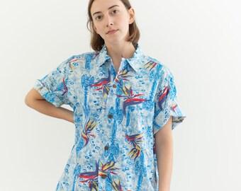 Vintage Blue Tropical Print Short Sleeve Shirt   Loop Collar Hale Hawaii Blouse   Hawaiian Top   M