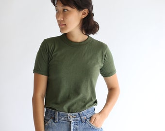 Vintage Army Green Crew T-Shirt | Olive Green Tee Cotton | Cotton Crew neck Tee Shirt Dead stock | S M