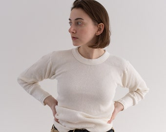 Vintage White Waffle Knit Thermal | Light Layer Crew Neck | Waffleknit | Made in USA | LARK